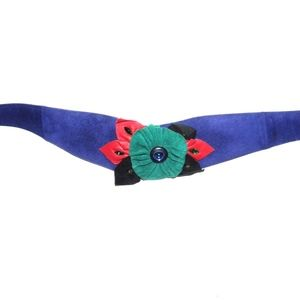 VTG 80s Wide Suede Floral Assemblage Belt Teal Red